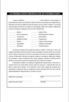 Reference Release Authorization Form